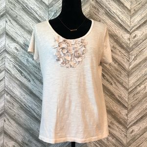 MERONA Floral Decor Tee, Cream, L